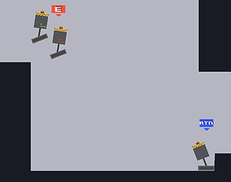 Part view of a blocky platform race track. Three pivoting square heads on a floating flat base.