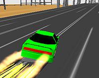 View of a 1980s style green sports saloon car racing along a slot-track with a blaze of smoke and light behind.