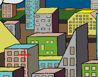 Cartoon city, with a target over a window.