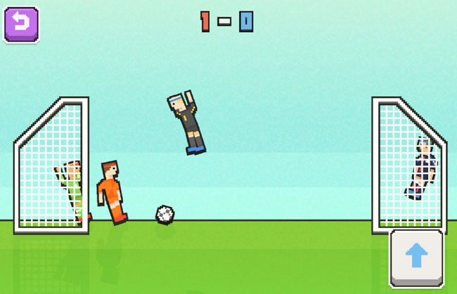 Soccer Physics screenshot. Pixelated colourful football players. One flying in the air.