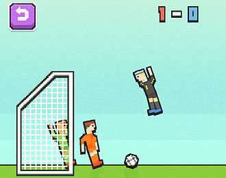 Pixelated football game. Bright colours side view of lego like football players. One flying in the air.