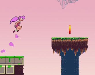 Pink sky. Pink haired student jumps from one platform to another.