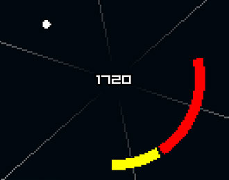 White dot, red and yellow curve on a black background. Score of 1720 displayed in the middle.