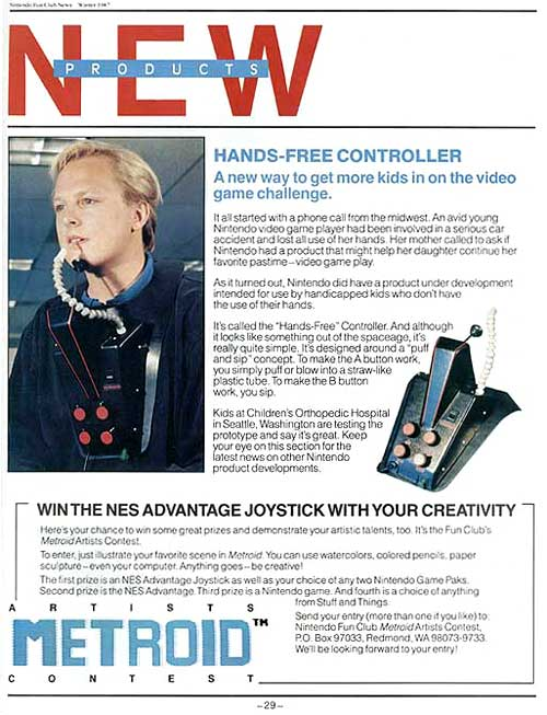 Click to Close window. New Products (Winter 1987) Hands-Free Controller. A new way to get more kids in on the video game challenge.