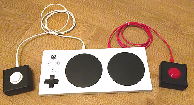 Sanwa Accessibility Switches with an Xbox Adaptive Controller.