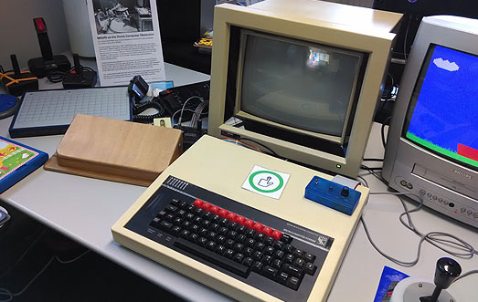 BBC Micro with touch-screen, speed control, gated joystick and wooden switch. Part of a Game Accessibility History show.