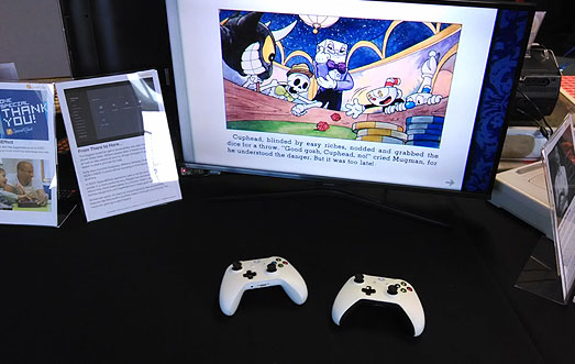 Xbox One Cuphead game with two controllers ready to play in Co-Pilot style.