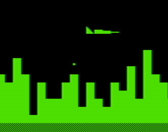 Green blocky PETSCII graphics of Air Attack. A plane over a cityscape.