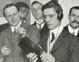 View of a 1912 Optophone device being worn by a blind man in London.