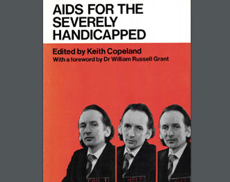 1974 Aids for the Disabled front cover. Author Keith Copeland with lapel communicator device.