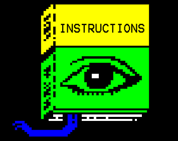 Library Instructions. Book with instructions on the front and a pixelated eye.